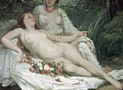 Floral Paintings - Bathers or Two Nude Women by Gustave Courbet