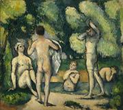 Swimmers Paintings - Bathers by Paul Cezanne