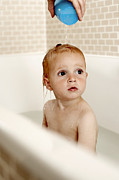Hair-washing Photo Prints - Bathing Child Print by Ian Boddy