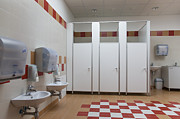Wall-mounted Prints - Bathroom In Primary School Print by Photographer Jaak Nilson/ Architect Priit Matsi
