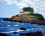 Battery Paintings - Battery Point Lighthouse by Frederic Kohli