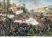 Confederate Flag Photo Posters - Battle Of Chickamauga 1863 Poster by Granger