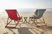 Aquitaine Metal Prints - Beach Chairs, Biscarrosse, Landes, Aquitaine, France Metal Print by Photo Division