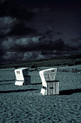 Eerie Framed Prints - Beach Chairs Framed Print by Joana Kruse