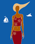 Fashion Drawings Posters - Beach Days Poster by Frank Tschakert