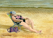 Beach Chair Prints - Beach Dreams Print by Vicky Watkins