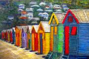 South Africa Painting Prints - Beach Houses at Fish Hoek Print by Michael Durst