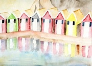 Illustration Painting Originals - Beach Huts by Eva Ason