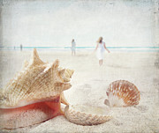 Conch Photos - Beach scene with people walking and seashells by Sandra Cunningham