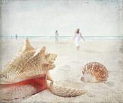 Beach Scene With People Walking And Seashells Print by Sandra Cunningham