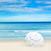 Beach Umbrella Posters - Beach umbrella Poster by MotHaiBaPhoto Prints