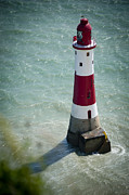 Lighthouse Jewelry Prints - Beachy Head Lighthouse. Print by Donald Davis