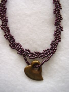 Metal Jewelry - Beaded Choker In Matte Wine Purple by Yvette Pichette
