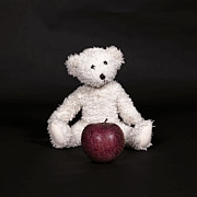 Stuffed Bear Prints - Bear And Apple Print by Joana Kruse