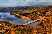 Riverscape - Early Autumn Prints - Bear Mountain Bridge in Autumn Print by Alfonso Bullock