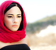 Hijab Fashion Metal Prints - Beautiful arabic woman Metal Print by Anna Omelchenko