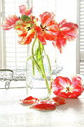 Bottle Green Posters - Beautiful tulips in old milk bottle  Poster by Sandra Cunningham