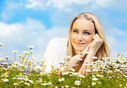 Beautiful Woman Enjoying Daisy Field And Blue Sky Print by Anna Omelchenko