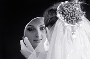 Brides Dress Framed Prints - Beautiful Woman in Bridal Veil Looking at a Mirror Framed Print by Oleksiy Maksymenko