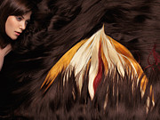 Flowing Hair Posters - Beautiful Woman with Hair Extensions in a Shape of Fire Poster by Oleksiy Maksymenko