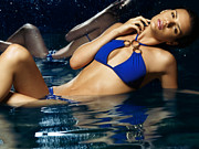 Two Piece Photos - Beautiful Young Woman in Blue Bikini by Oleksiy Maksymenko