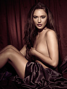 Long Bed Framed Prints - Beautiful Young Woman Sitting Naked in Bed Framed Print by Oleksiy Maksymenko