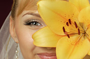 Make-up Prints - Beautiful Young Woman with a Yellow Lily Print by Oleksiy Maksymenko