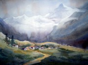 Himalaya Paintings - Beauty of Himalayan Village by Samiran Sarkar