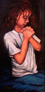 Child Praying Paintings - Bedtime Prayer by Lyn Deutsch
