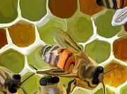 Insects Mixed Media Metal Prints - Bee Metal Print by Chris Butler