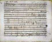18th Century Framed Prints - Beethoven Manuscript Framed Print by Granger