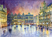 Watercolor Framed Prints - Belgium Brussel Grand Place Grote Markt Framed Print by Yuriy  Shevchuk
