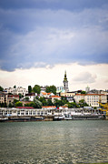 Clock Framed Prints - Belgrade cityscape on Danube Framed Print by Elena Elisseeva