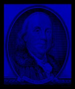 Patriots Prints - BEN FRANKLIN in BLUE Print by Rob Hans