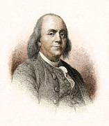 Benjamin Franklin Framed Prints - Benjamin Franklin, American Polymath Framed Print by New York Public Library
