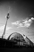 Bahn Photo Framed Prints - berliner fernsehturm Berlin TV tower symbol of east berlin and the Alexanderplatz railway station Framed Print by Joe Fox