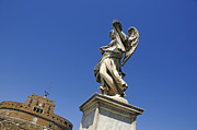 Blue Angel Photos Posters - Bernini Statue on the Ponte Sant Angelo Poster by Bernard Jaubert
