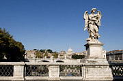 Angels Prints - Bernini Statue on the Ponte Sant Angelo. River Tiber. Rome Print by Bernard Jaubert