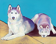 Huskies Pastels Framed Prints - Best Buddies Framed Print by Pat Saunders-White