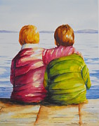 Bannister Painting Metal Prints - Best Friends Metal Print by Debra  Bannister