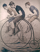 Penny Farthing Framed Prints - Bicycling, 1880 Framed Print by Granger