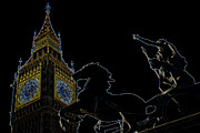 London England  Digital Art - Big Ben and Boudica by David Pyatt