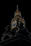 London England  Digital Art - Big Ben and Boudica Statue by David Pyatt