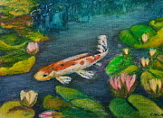 Koi Painting Posters - Big Fish - Small Pond Poster by Carla Stein