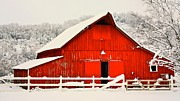 Gregory Dean - Big red barn in the snow.