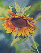 Yellow Flowers Pastels Posters - Big Sunflower Poster by Billie Colson