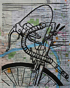 Lino Drawings Framed Prints - Bike 2 on map Framed Print by William Cauthern