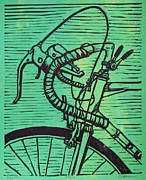 Lino Print Framed Prints - Bike 2 Framed Print by William Cauthern