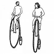 Pair Drawings Prints - Bike Buddies Print by Karl Addison