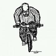Bicycle Drawings Framed Prints - Biking Man Framed Print by Karl Addison